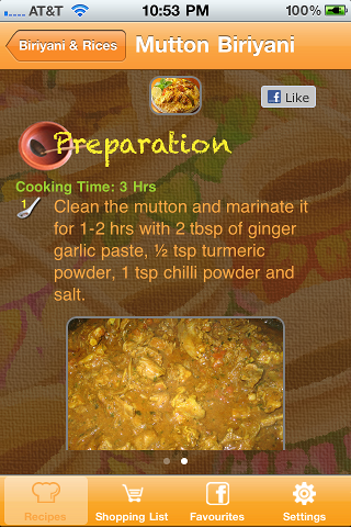 Tamil Kitchen iPhone App Screen1